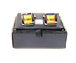 NCAA LSU Tigers Square Cuff Links, Team Color, 4