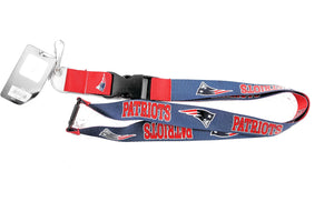 aminco New England Patriots Reversible Clip Lanyard Keychain Id Ticket Holder, Blue/Red