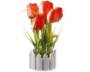 11 Inch Red Tulips with Round White Picket Fence Base