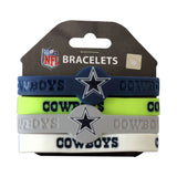aminco NFL Dallas Cowboys Silicone Bracelets, 4-Pack