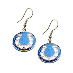 Sports Team Indianapolis Colts Glitter Sparkle Dangle Logo Earring Set