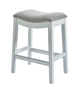 NewRidge Home Wood and Linen Upholstered Zoey Bar Height Stool with Hand Applied Nail Heads - White