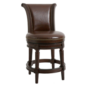 NewRidge Home Wood and Linen Upholstered Chapman Counter Height Swivel Barstool - Distressed Walnut