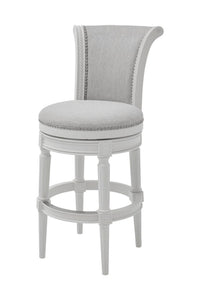 NewRidge Home Classic Design Chapman Bar Height Swivel Barstool with Hand Applied Nail Heads - Alabaster White