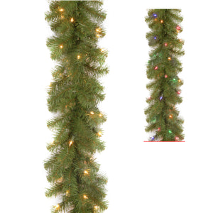 "9' x 10"" North Valley Spruce Garland with 50 Battery Operated Dual LED Lights"
