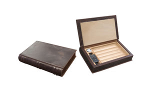 Prestige Import Group 5-10 Ct Leather Novelist Book Travel Humidor With Cutter, Humidifier and Hygrometer Holds 5 - 10 Count Cigars