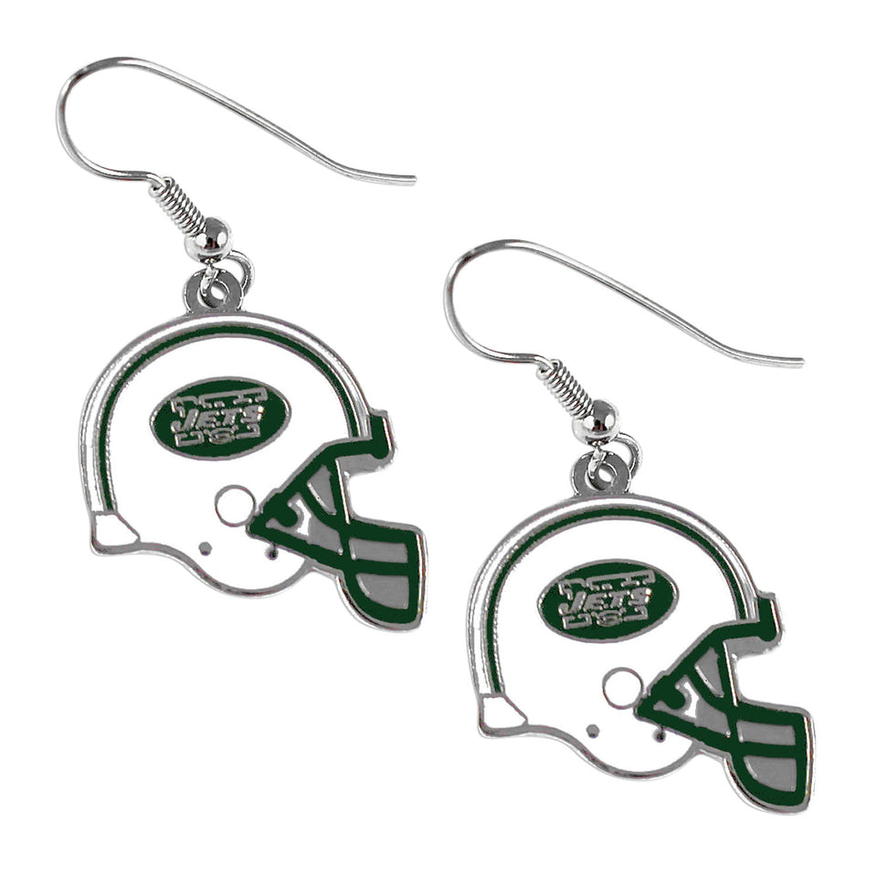 Sports Team New York Jets J Hook Dangle Logo Earring Set