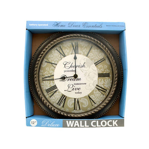 Bulk Buys Home Decorative 12 Inch Wall Clock Assorted Designs (Req. 1 Aa Battery)