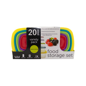 20-Piece Variety Pack Food Storage Containers Set - Pack of 1