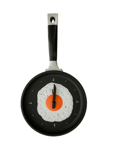 bulk buys OD979 Egg Frying Pan Novelty Clock, Black, White, Green, Blue, Orange, Silver