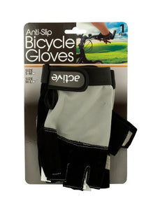 Bulk Buys Anti-Slip Bicycle Gloves with Breathable Top Layer, Assorted Sizes - 2-PK