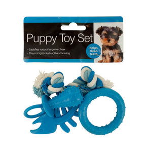 Bulk Buys 4 Piece Puppy Teeth Cleaning Cotton Knotted Rope Toy Set - 4 Pack