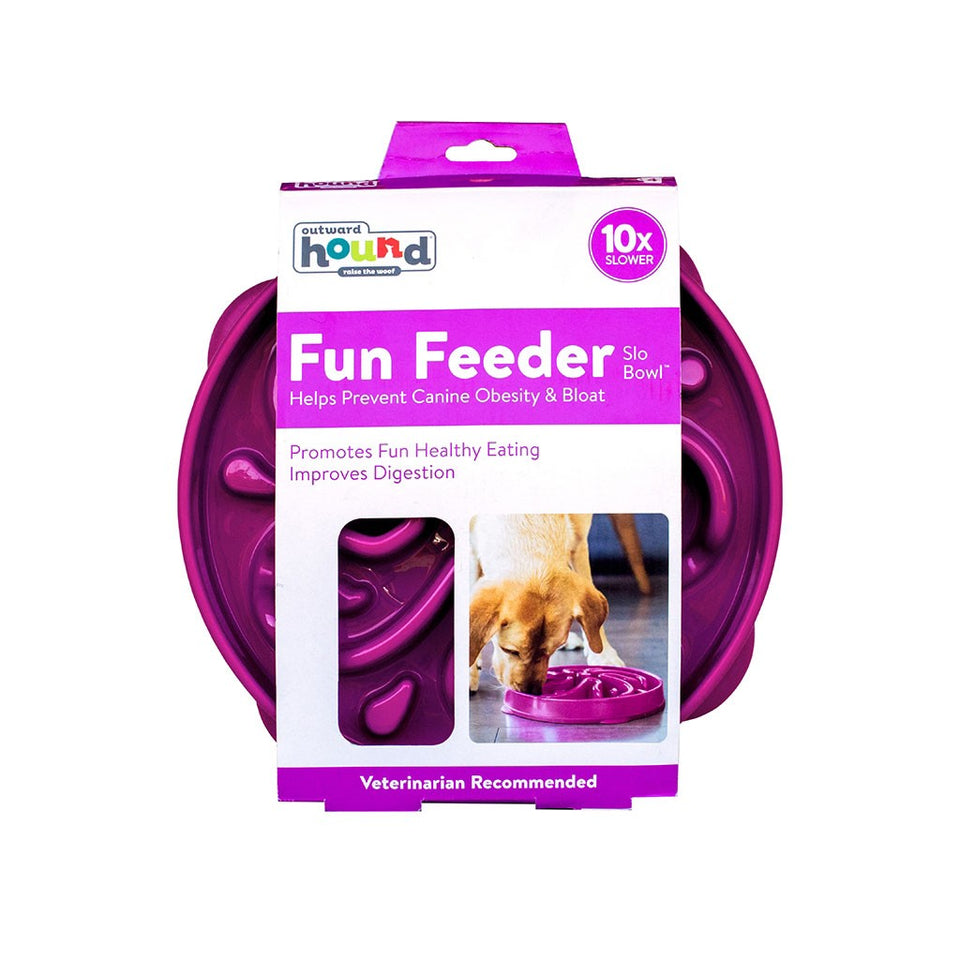 Outward Hound Plastic Fun Feeder Slo-Bowl Flower, Purple - Large
