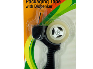 Bulk Buys Packaging Tape, Mini Plastic Refillable Dispenser with Metal Toothed Cutting Blade - Pack of 12