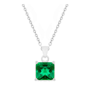 Reversible Princess Green/Clear Cubic Zirconia Pendant Necklace