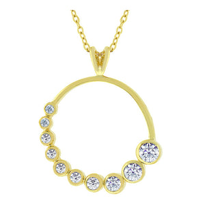 J Goodin Classic Wedding Anniversary Style Golden Graduated Cubic Zirconia Circle Pendant for Women