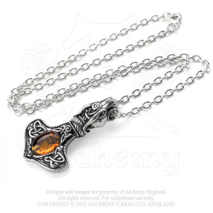 Amber Dragon Thorhammer Pendant by Alchemy Gothic, England [Jewelry]