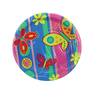 8 Count Bright Butterflies Paper Plates - Pack of 24