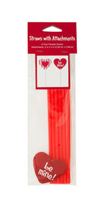 Valentine039;s Day Straws with Heart Attachments-Package Quantity,24