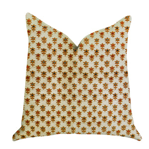 "Plutus Brands Rosy Posse Double Sided Queen Luxury Throw Pillow, 20"" x 30"", Tan/Orange"