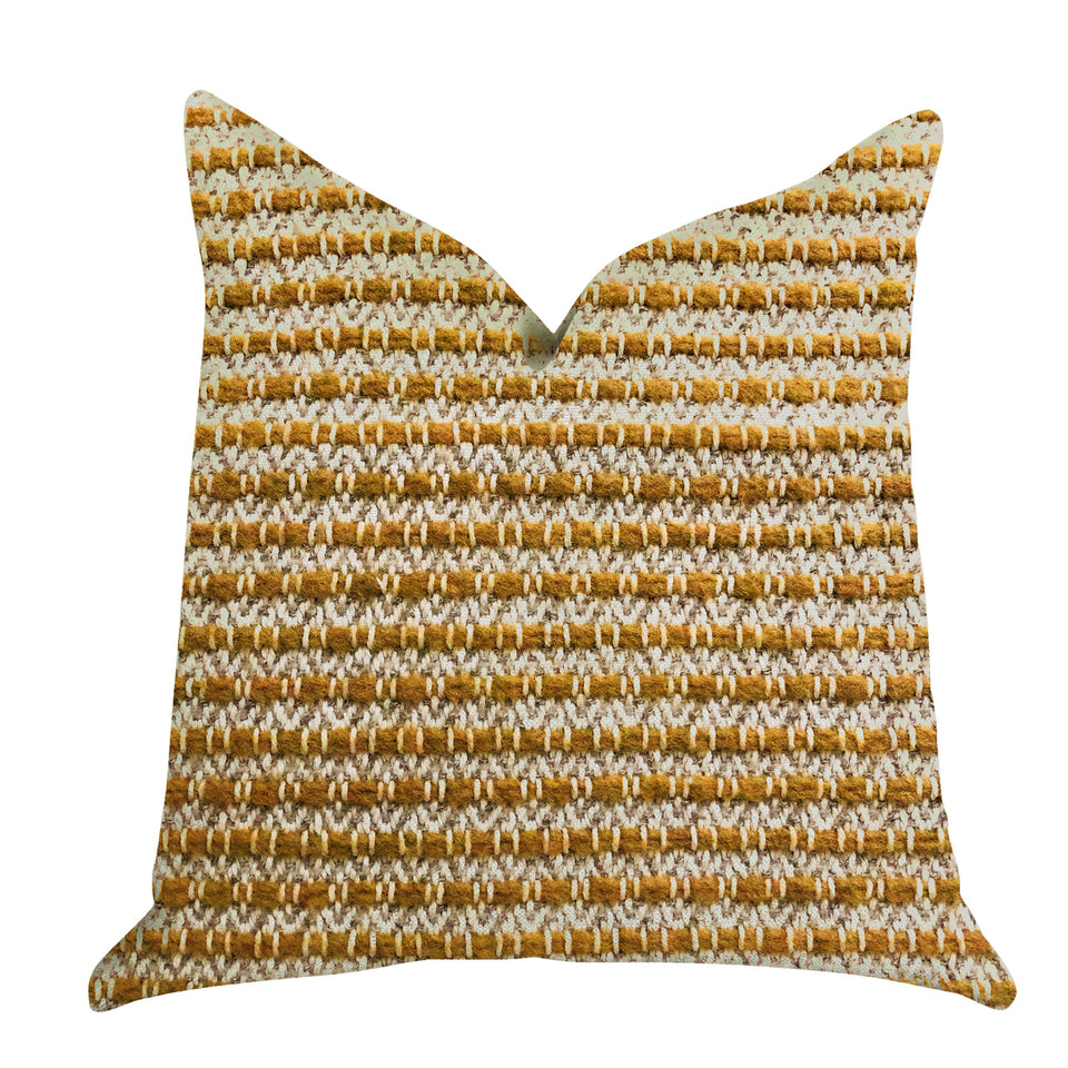 "Plutus Brands Hamilton Braid Double Sided Queen Luxury Throw Pillow, 20"" x 30"", Brown/Orange"