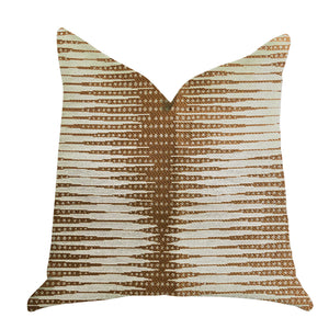 "Plutus Brands Pokaline Chevron Double Sided King Luxury Throw Pillow, 20"" x 36"", Brown/Beige"
