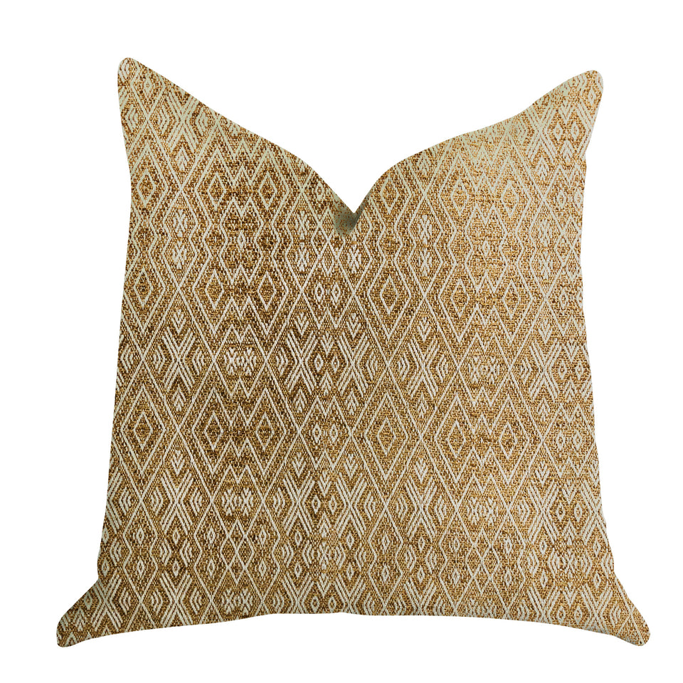 "Plutus Brands Diamond Gem Double Sided Queen Luxury Throw Pillow, 20"" x 30"", Brown"