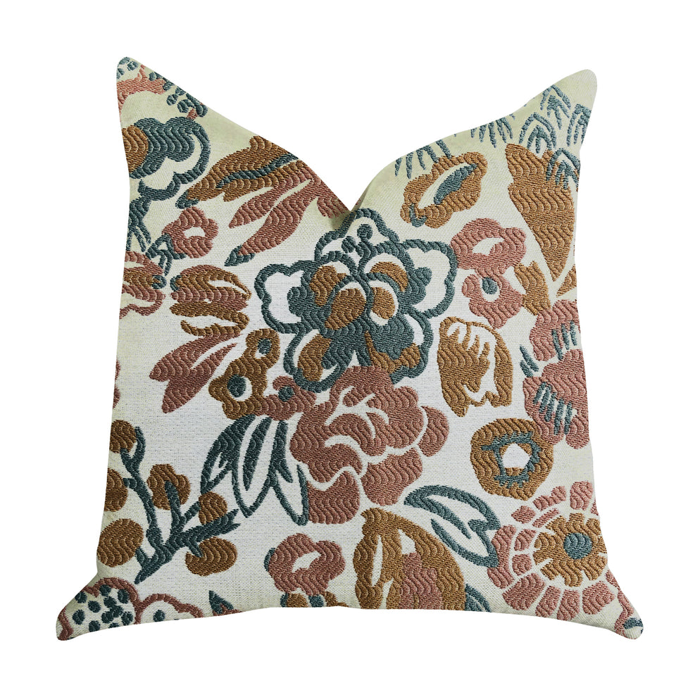 "Plutus Brands Floweret Double Sided Queen Luxury Throw Pillow, 20"" x 30"", Green/Brown/White"