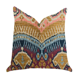 "Plutus Brands Ikat Anika Double Sided Queen Luxury Throw Pillow, 20"" x 30"", Multi Color"