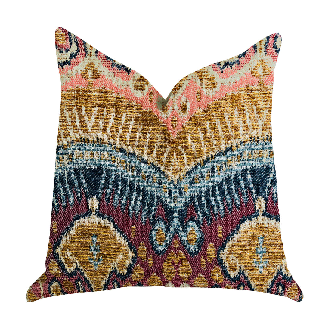 Plutus Brands Ikat Anika Double Sided Queen Luxury Throw Pillow, 20