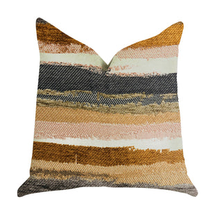 "Plutus Brands Bahia Belle Striped Double Sided Queen Luxury Throw Pillow, 20"" x 30"", Brown/Beige/White"