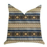 "Plutus Brands Daphne Diamante Textured Double Sided Queen Luxury Throw Pillow, 20"" x 30"", Blue/Black/Brown"