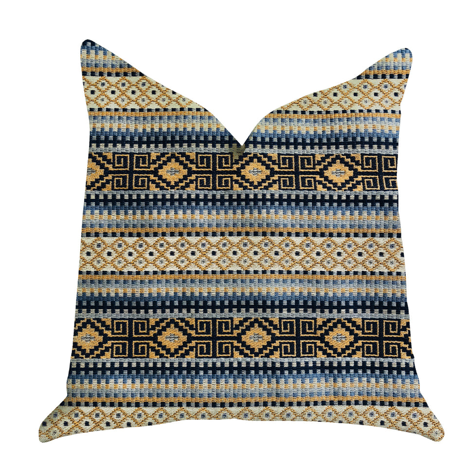 "Plutus Brands Daphne Diamante Textured Double Sided King Luxury Throw Pillow, 20"" x 36"", Blue/Black/Brown"