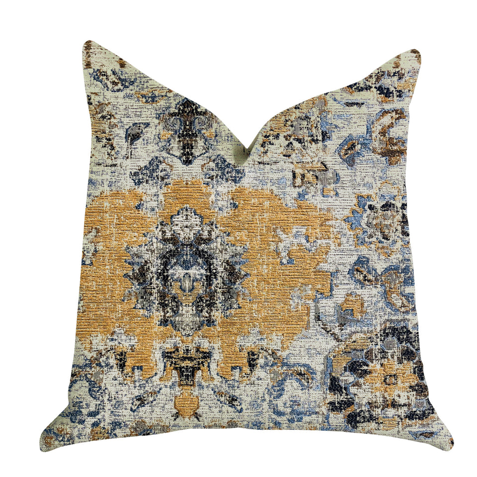 "Plutus Brands Free Spirit Damasque Double Sided Queen Luxury Throw Pillow, 20"" x 30"", Blue/Beige/Gold"