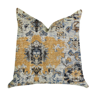 "Plutus Brands Free Spirit Damasque Double Sided King Luxury Throw Pillow, 20"" x 36"", Blue/Beige/Gold"