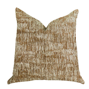 "Plutus Brands Ebony Russet Textured Double Sided Queen Luxury Throw Pillow, 20"" x 30"", Brown/Beige"