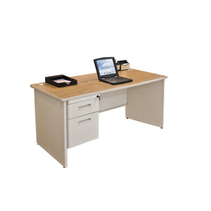 Pronto Single Pedestal Desk, 60W x 30D - Oak Laminate and Putty Finish