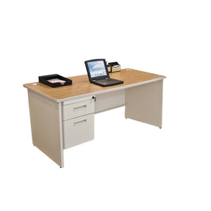 Pronto Single Pedestal Desk, 66W x 30D - Oak Laminate and Putty Finish