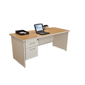 Pronto Single Pedestal Desk, 72W x 30D - Oak Laminate and Putty Finish