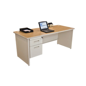 Pronto Single Pedestal Desk, 72W x 36D - Oak Laminate and Putty Finish