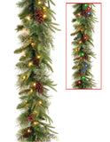 National Tree 9 Foot by 10 Inch Feel Real Colonial Garland with 15 Pine Cones, 15 Red Berries and 50 Dual Color Battery Operated LED Lights with Timer and 9 Functions (PECO7-395D-9AB)