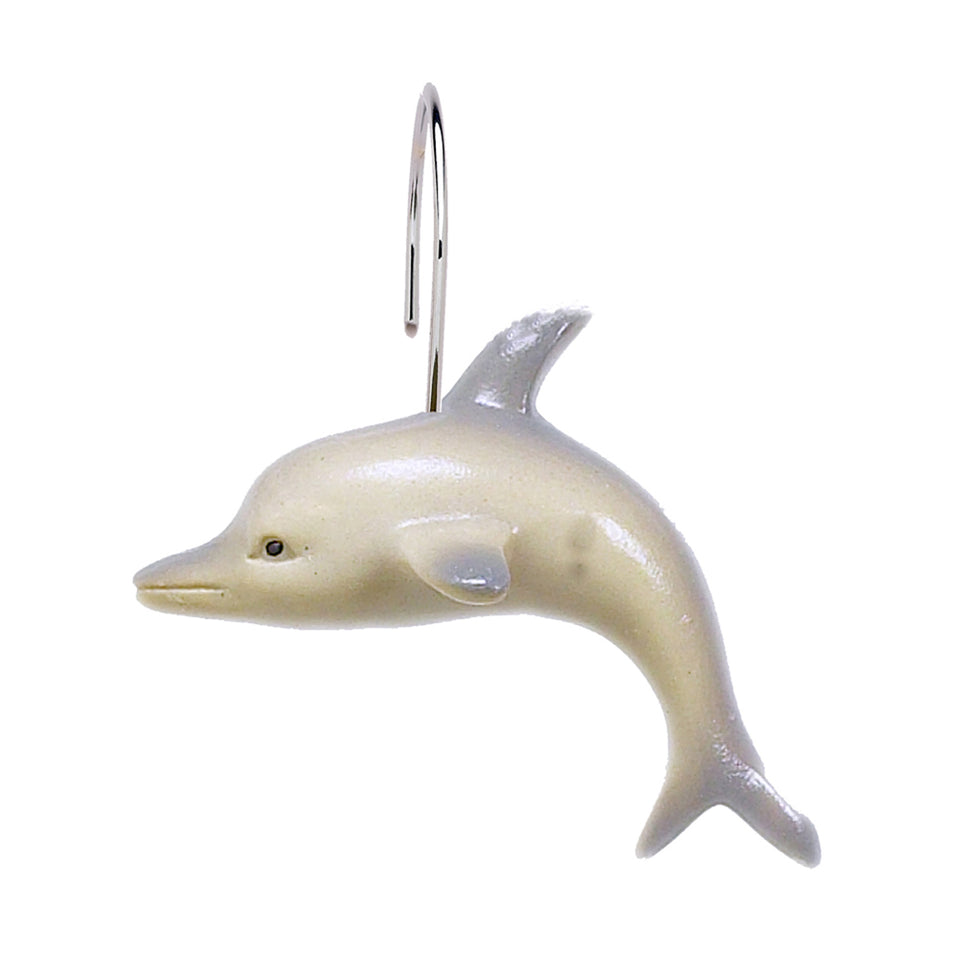 Carnation Home Fashions PHP-DP Dolphins Resin Shower Curtain Hooks, Multi