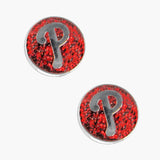 MLB Philadelphia Phillies Sports Team Logo Glitter Sparkle Post Stud Earring Set