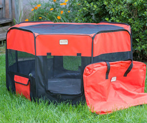 Armarkat Model PP002R-XL Portable Pet Playpen in Black and Red Combo, XL