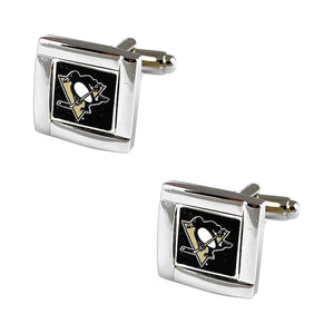 NHL Pittsburgh Penguins Sports Team Square Shaped Logo Mens Cufflinks with Case