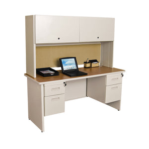 "Pronto 60"" Double File Desk Credenza Including Flipper Door Cabinet, 60W x 24D:Putty/Beryl"