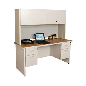 "Pronto 60"" Double File Desk Credenza Including Flipper Door Cabinet, 60W x 24D:Putty/Chalk"
