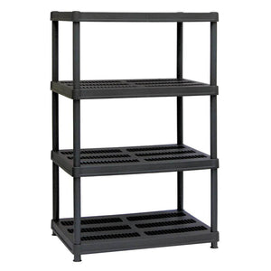 "4-Shelf Black Plastic Shelving Unit - 56""H x 36""W x 24""D"