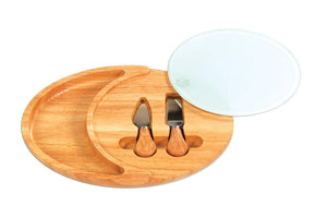 Picnic Plus Outdoor Travel Oval shaped server tray with glass cheese board and cheese tools