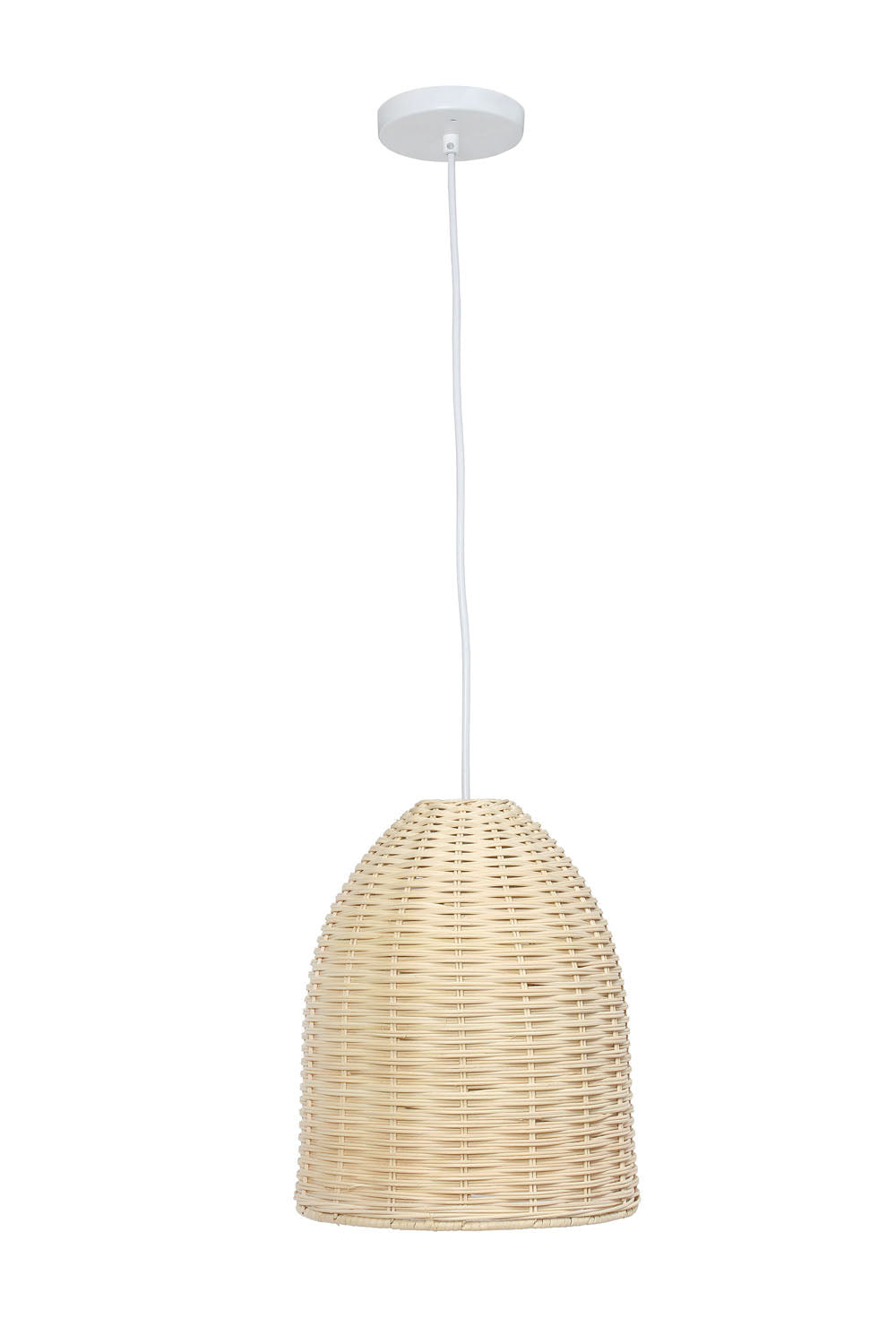 Elegant Designs Elongated Coastal Dome Rattan Downlight Pendant, Natural